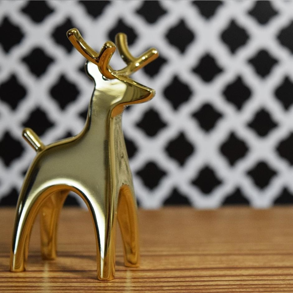 Electroformed and gold plated ornamental reindeer