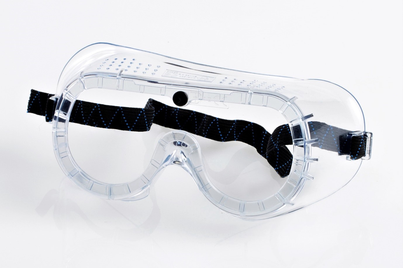 Pair of safety goggles, clear with black strap, universal size