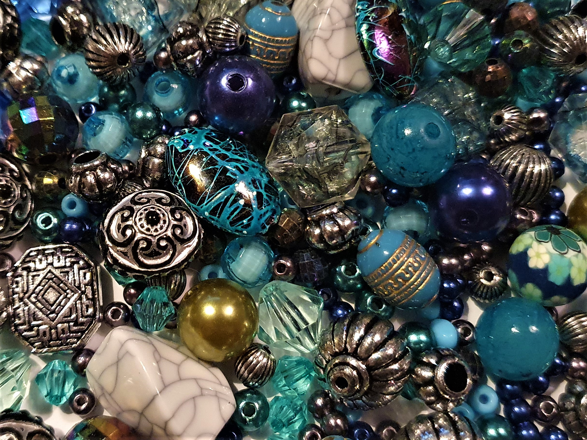 Blue jewellery making beads