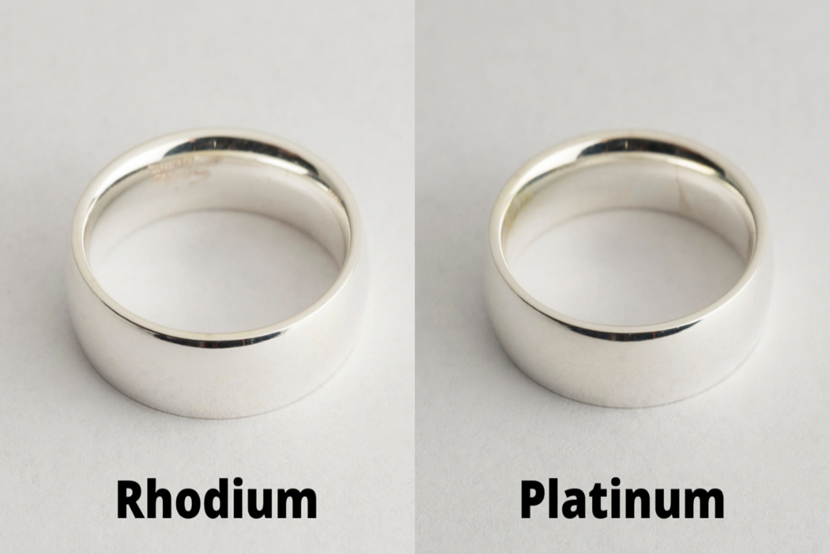Composite photo comparing two rings plated in platinum and rhodium